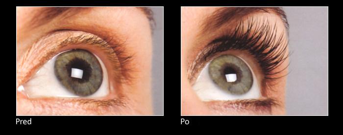 Aplikácia umelých mihalníc - pred a po | foto: eyelashgrowthproductreviews.net