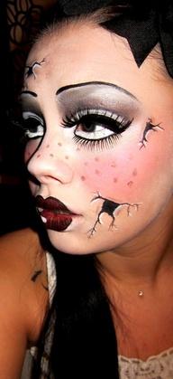Strašidelná bábika make-up umelé mihalnice | pinterest.com