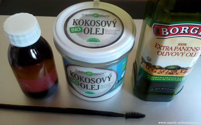 ricínový, kokosový, olivový olej na mihalnice
