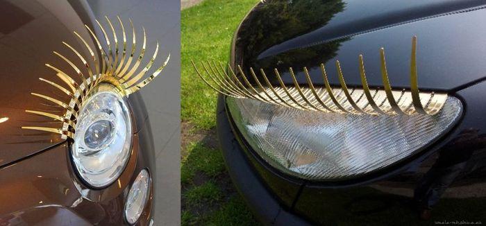zlate umele mihalnice na auto